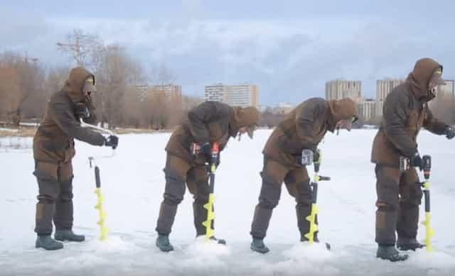 Испытание машин для бура льда