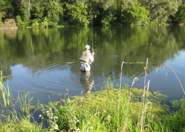 Отказавшись от ловли с лодки в мае, можно ловить щуку на малых водоемах с берега или взаброд.