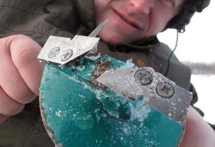 Правка ножей ледобура на льду