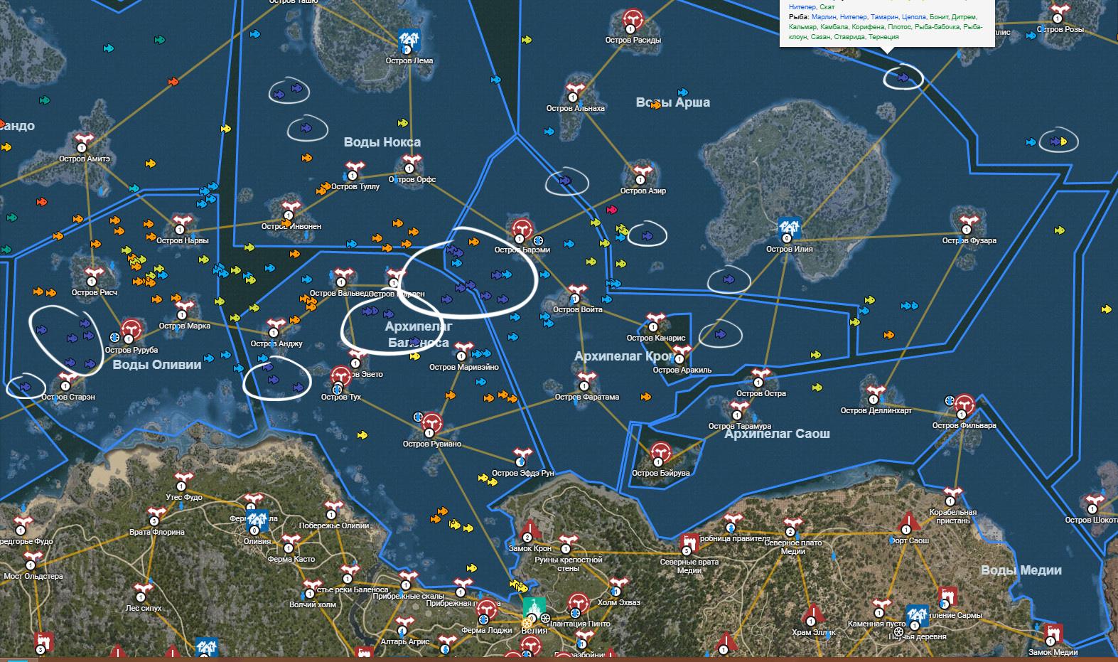 Косяки морского карася на карте BDO